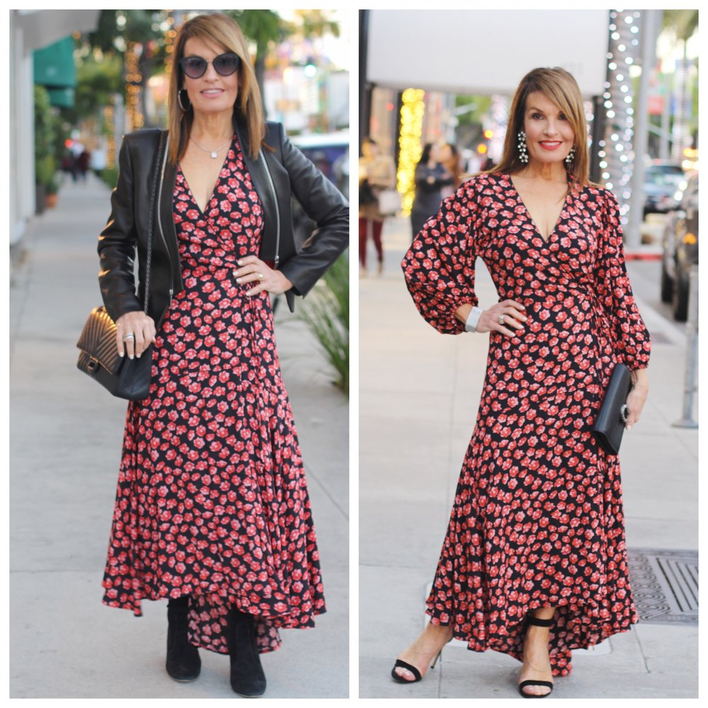 Ganni dress   , also available at    Milk Boutique in Brentwood   , Barbara Bui leather jacket    similar here,    Valentino Boots    similar here   ,    John Hardy earrings   , Chanel handbag    similar for less here   , cuff and sunglasses, Gianvanito Rossi heels    similar for less here   ,    Gucci clutch   ,