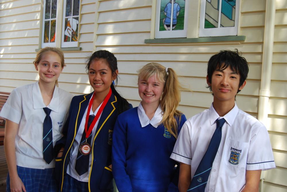 Phoebe Schnetker (Yr 11), Ashley Galleros (Yr 10), Brooke Parzatka (Yr 8) and Kohei Ota (Yr 9).