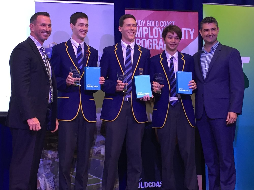 Pictured (from left to right): Duncan Armstrong (Former Olympic Swimming Champion and Telstra Community Engagement Representative), Jake van den Brink, Cameron van den Brink, Zultan Holder (all year 10IPT), Councillor Hermann Vorster (Division 11).