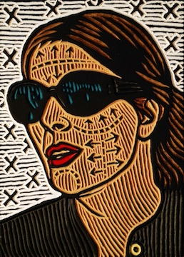 woodcut portrait by Lisa Brawn