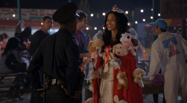 "That time when Winston's girlfriend, Shelby was""Reigning Cats & Dogs"" for Halloween (New Girl Season 2)"