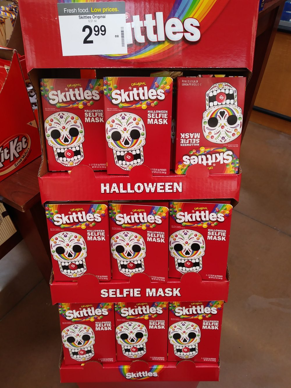 Ahead of Halloween, Wrigley is pushing an actual Skittles Selfie Mask in stores. This display was found at a Kroger just outside Atlanta, GA.
