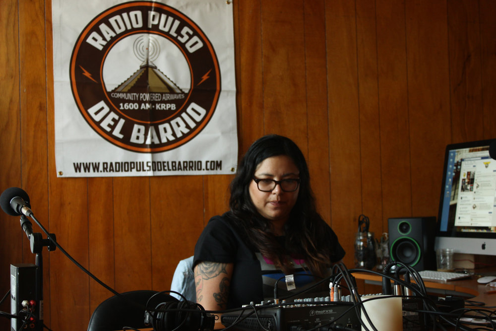 DJ La Bucky in the offices of Radio Pulso del Barrio