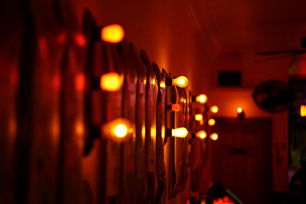 Photo of wall lights and skate boards.JPG