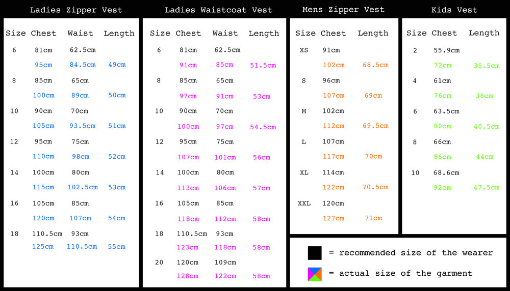 Pick a vest size closest to your measurements - Keep in mind that they are a loose fit so if your measurements are 7cm either side of the sizes in the chart, the vest/waistcoat is still going to fit.