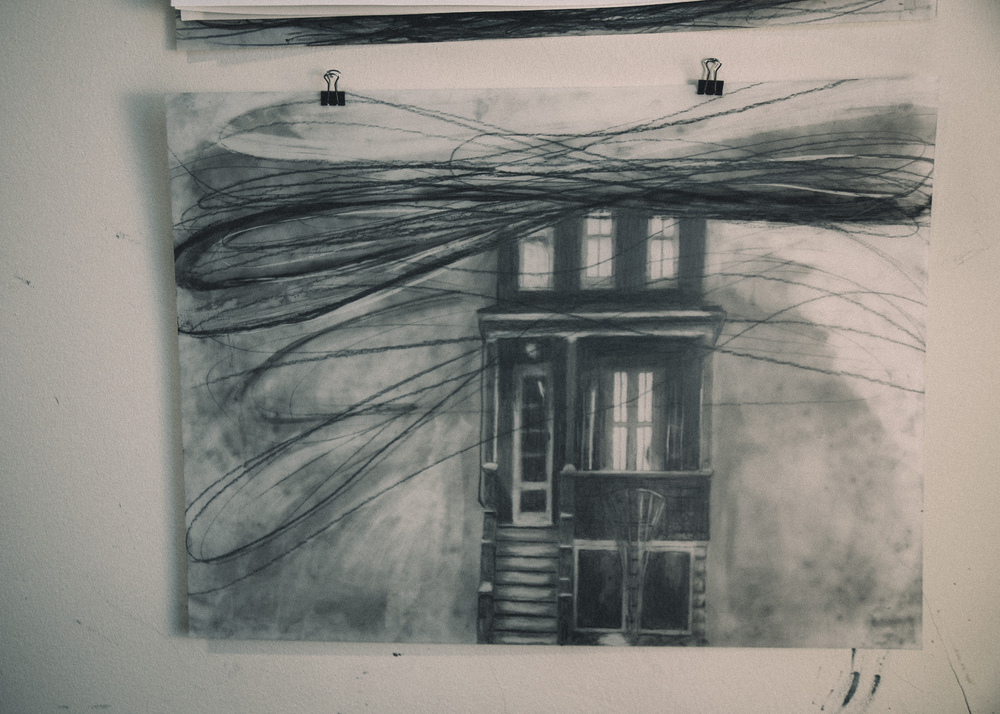Untitled.   Graphite and charcoal on drafting film. 2015