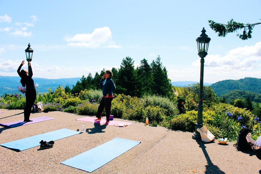 yoga at a vineyard