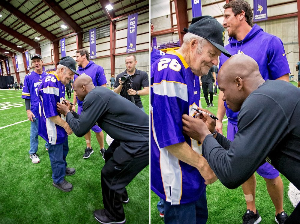 Ford gets his #28 jersey signed by Running Back, Adrian Peterson.