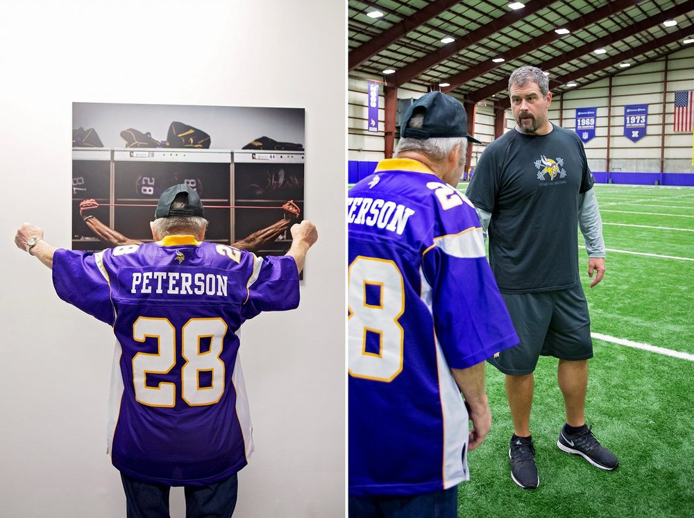 "Ford practices his flex with an image of Adrian Peterson for inspiration.  ""C'mon Coach... put me in, I'm ready!"""