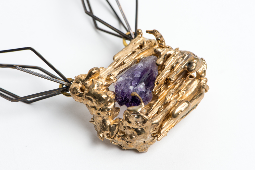 Brass wire, bronze cast, natural amethyst