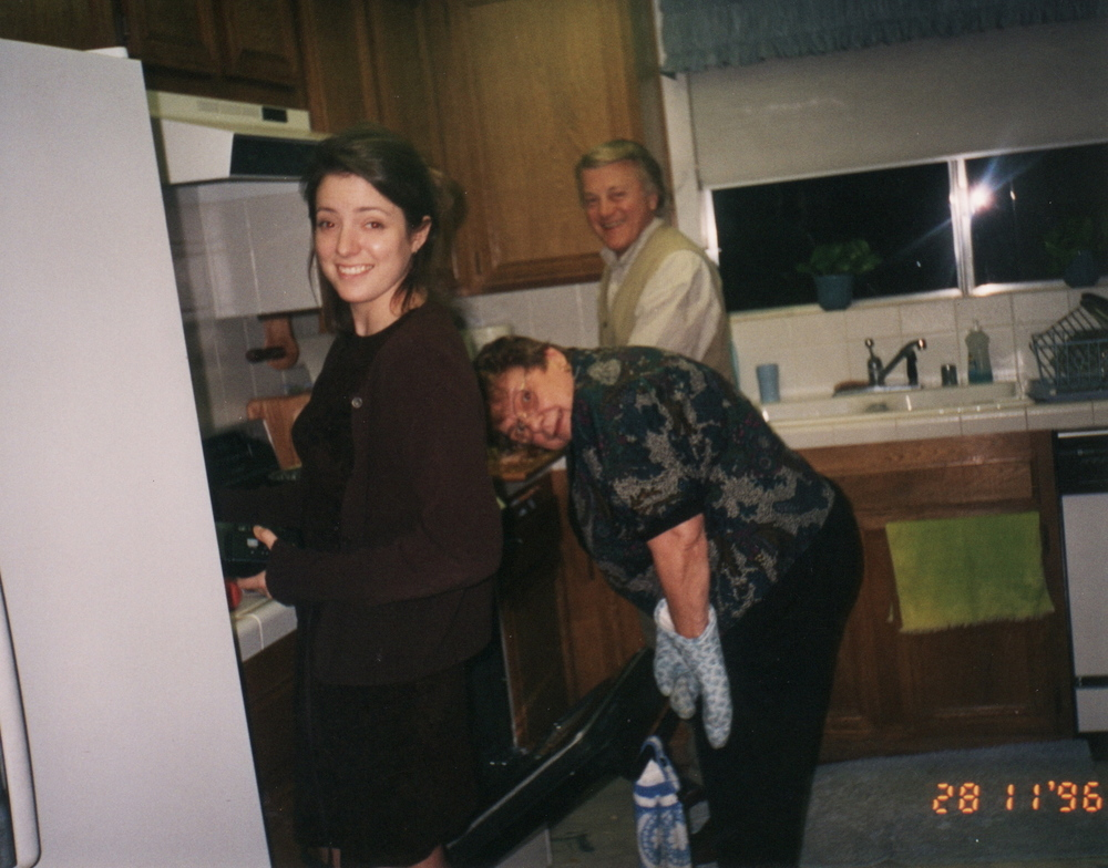 Me In gram's kitchen with the master herself, Thanksgiving 1996