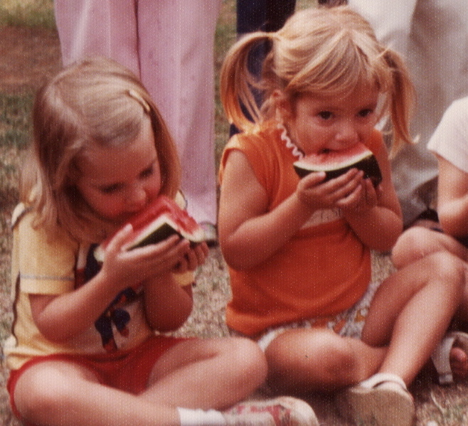 Samantha and I at our first school picnic - 1975