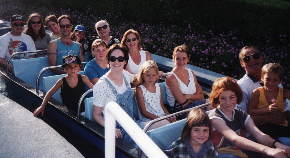 At Disneyland with most of Dee's family (i am in the back row in yellow and the only non-family member in the bunch) - 1996
