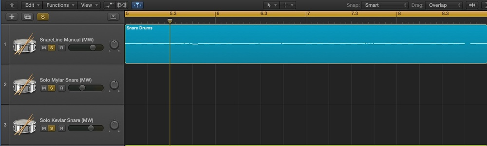 The blue region shows a MIDI data of a snare part imported from Sibelius into my Snareline Manual VDL Track in Logic Pro.