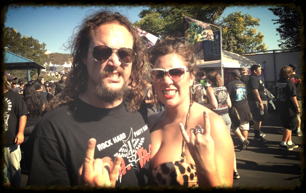 Ashton & Farran at a festival in San Bernardino to see Iron Maiden, Anthrax, Megadeth & Testament
