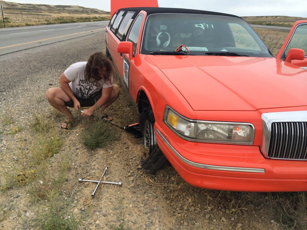 We literally blew a tire, good thing Ashton is handy and Farran didn't freak out when driving.