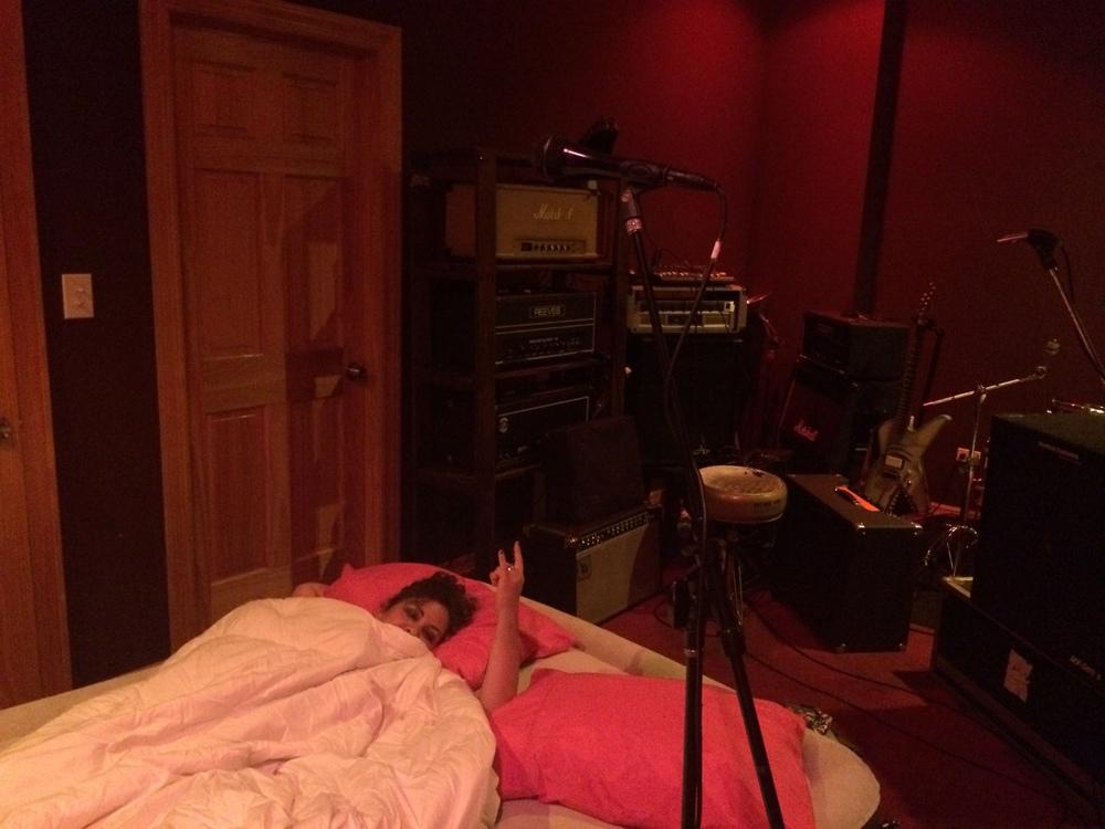Farran sleeping tight in the Hessler/the Last Vegas practice space