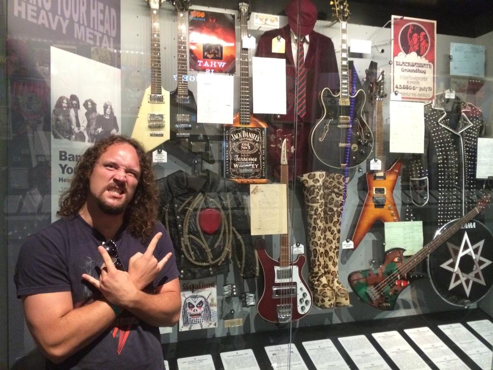 Ashton and the hard rock memorabilia section.