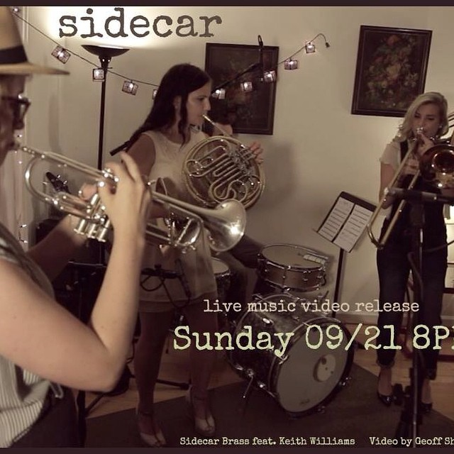 Our first video release is TOMORROW at 8PM along with our website launch!!! Gee golly we're so excited. @sidecarbrass #danceparty #trombone #trumpet #horn #trio #brass