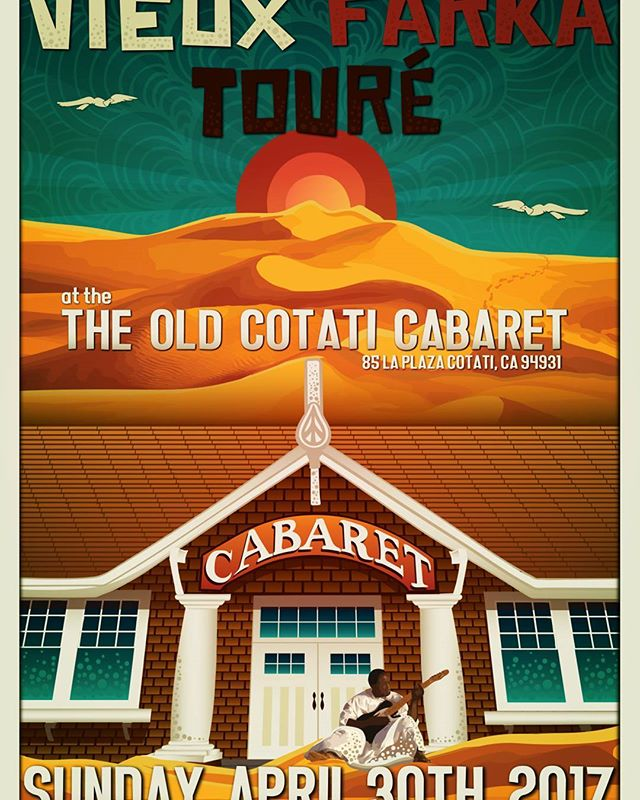 Vieux Farka Touré (aka the #HendrixoftheSahara) will be rocking the old #CotatiCabaret  on Sunday, April 30th!  1st 40 people to buy tickets online here:  hendrixofthesahara.brownpapertickets.com  will receive a FREE 11 X 17 Katie Kincade Designs poster*! All proceeds from this show will benefit @LiveMusicLantern  Tickets will be also be available  Redwood Cafe Coffee House and Grill, The Last Record Store &  C O R N E R S T O N E starting the week of Feb. 19th. *One poster per person. Poster will only be available for pickup the night of the show at the venue.  Want to volunteer for the event? Email us at livemusiclantern@gmail.com  #cotati #livemusic #history #africanmusic #community #sonomacounty