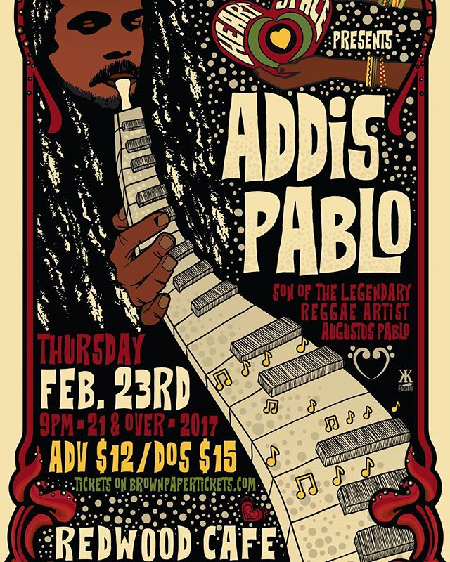 Don't miss @addispablo perform on Thursday, February 23rd at 8pm at #redwoodcafe in #cotati  #reggae #augustuspablo #livemusic #sonomacounty #love #light #instrumental