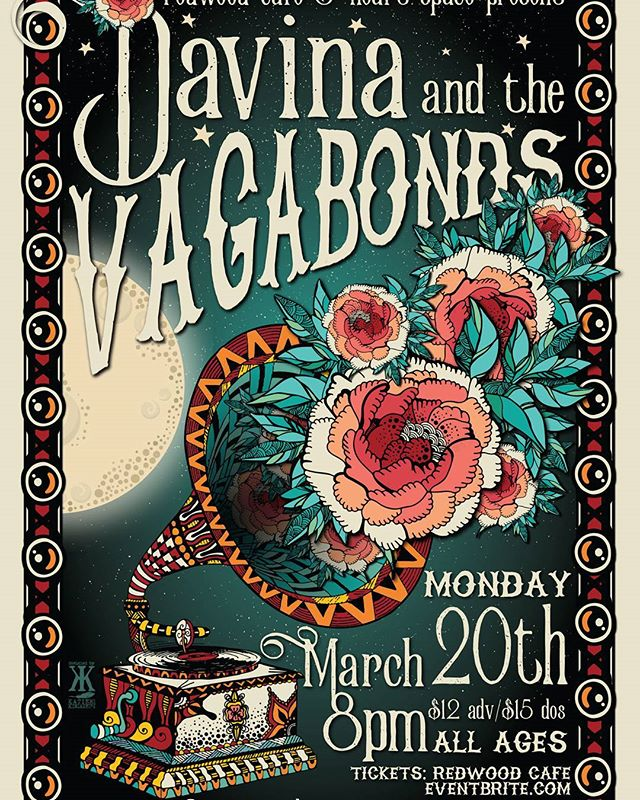 1st 20 people to buy tix for @davinavagabonds on March 20th at #redwoodcafe in #cotati will receive a limited edition #katiekincadedesigns poster!  Tickets available on Eventbrite or at Redwood Cafe  #livemusic #blues #sonomacounty #davinaandthevagabonds #selfcare #supportcommunity #wesupport #socialworker #educators #nonprofit