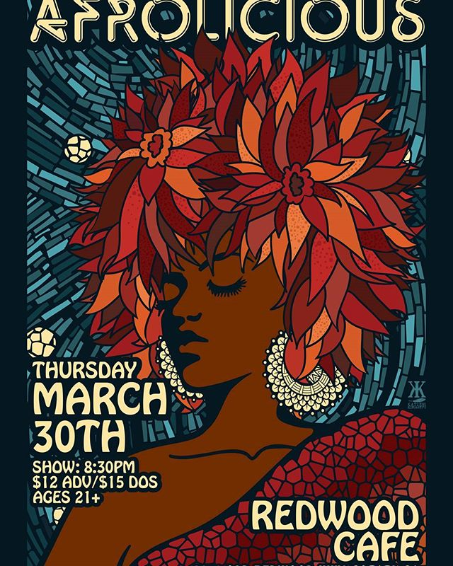 #afrolicious to play the #redwoodcafe in #cotati on Thursday, March 30th!  #afrofunk #afrobeat #dance #dancemusic #supportcommunity #sonomacounty #socialworker #educators #selfcare #livemusic  #katiekincadedesigns