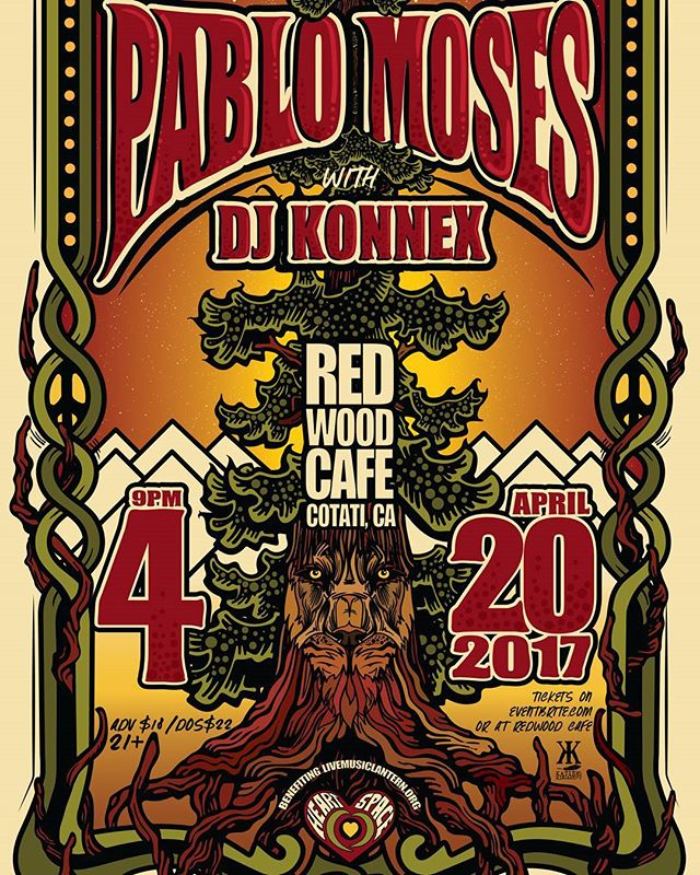 #pablomoses performs at the #redwoodcafe in #cotati on Thursday,  April 20th with #djkonnex!  #reggae #livemusic #selfcare #sonomacounty #heartspace #supportcommunity #community