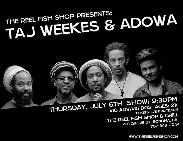 Big thanks to @thereelfishshopandgrill for supporting social workers and educators in Sonoma County by gifting them free concert tickets the @tajweekes show next thursday, July 6th!  If you don't already have your tickets, please make to get them on Eventbrite(link in bio) or at the door!  #musicheals #musictherapy #shiningalightwithlivemusic #sonomacounty #sonoma #reggae #livemusic #nonprofit #community #love #light