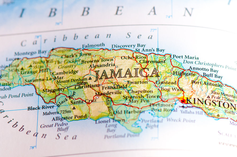 An aerial view (map) of Jamaica