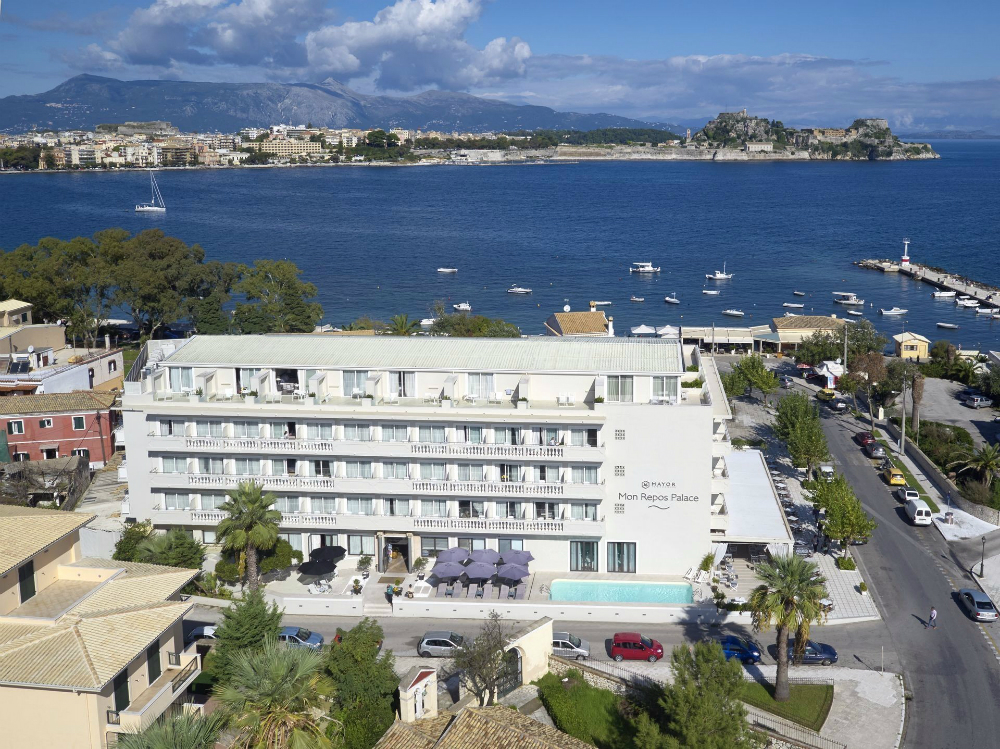 Mayor Mon Repos Art Hotel Corfu Aerial view Garitsa Bay.jpg
