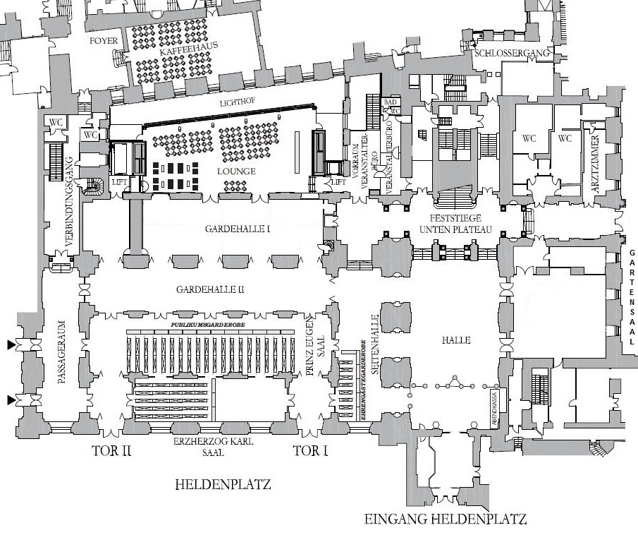 Plan der Hofburg - Erdgeschoss