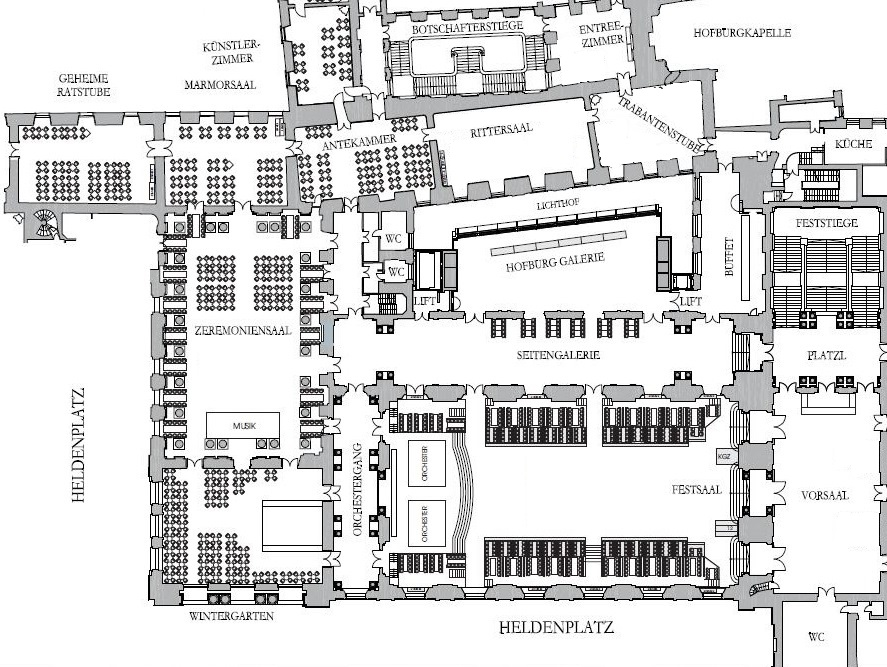 Plan der Hofburg - 1. Stock