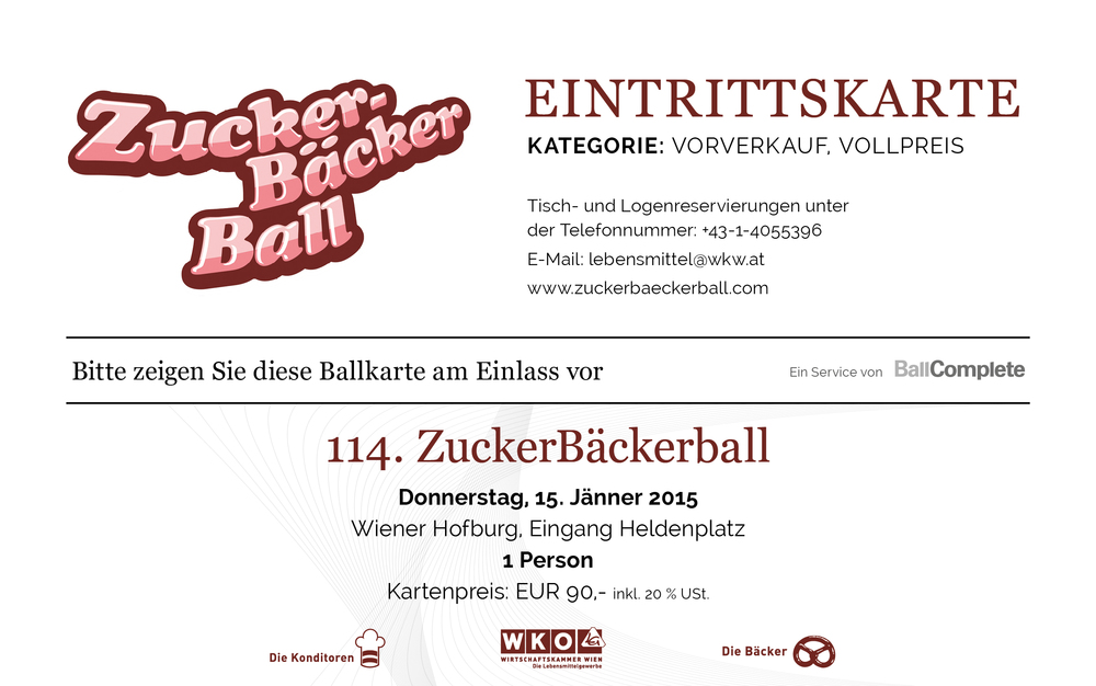 Eintrittskarte ZuckerBäckerball