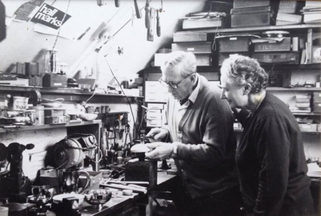 My grandparents Biff and Eileen Barker in their studio in the 1960s in Petersfield, Hants, UK