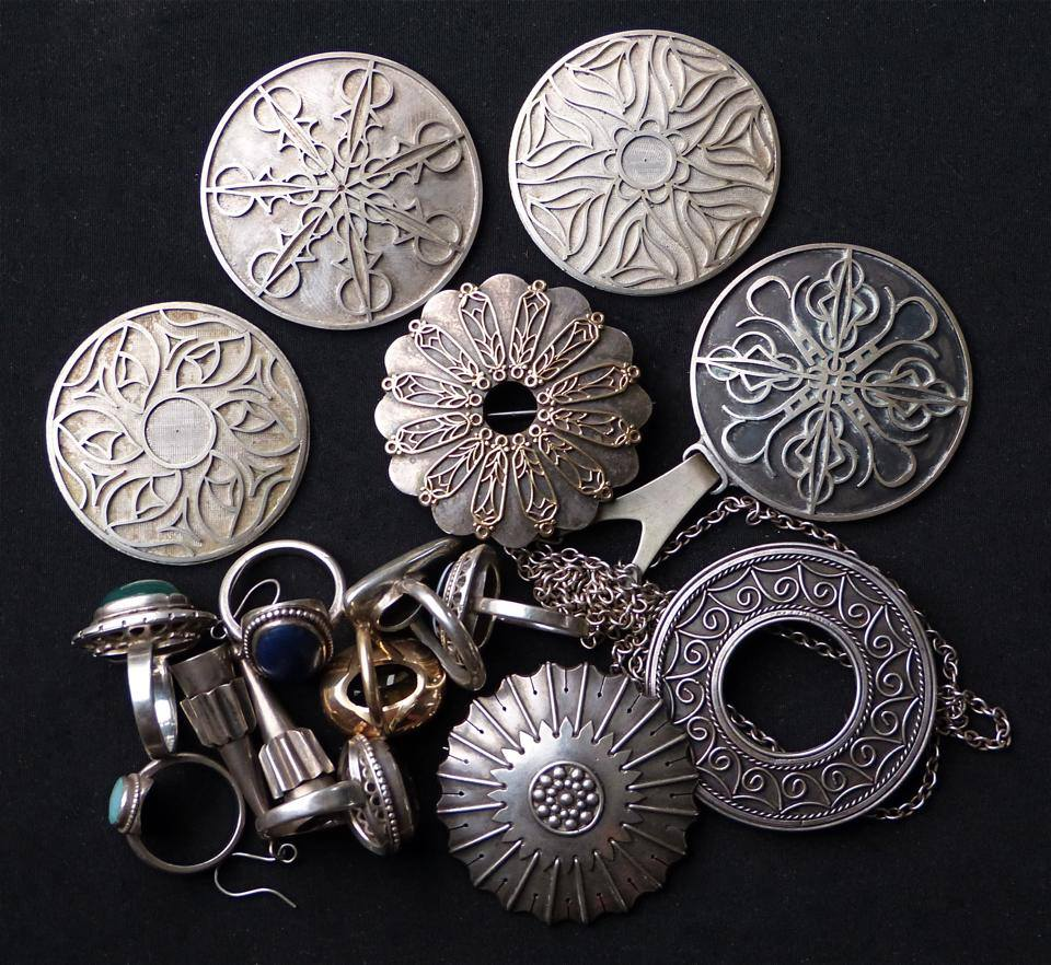 Brooches, pendants and rings made by my grandfather Biff Barker (some unfinished)
