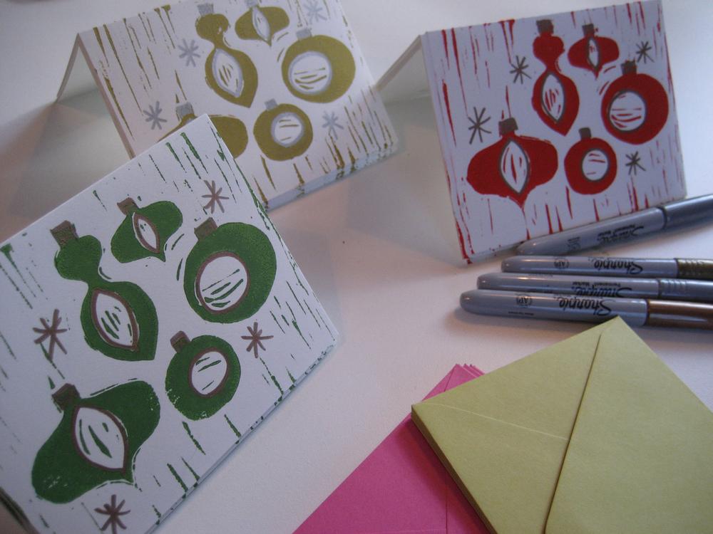 Linoleum block cards