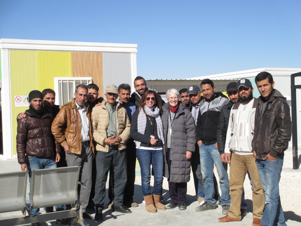 Here I am with teacher trainer and translator Muna and some of the workshop participants in Azraq camp. Thanks for your welcome, Omar, Ibrahim, Musa, Ali, Ahmed, Klef, and everyone else, not to mention the ladies in our other Azraq workshop.