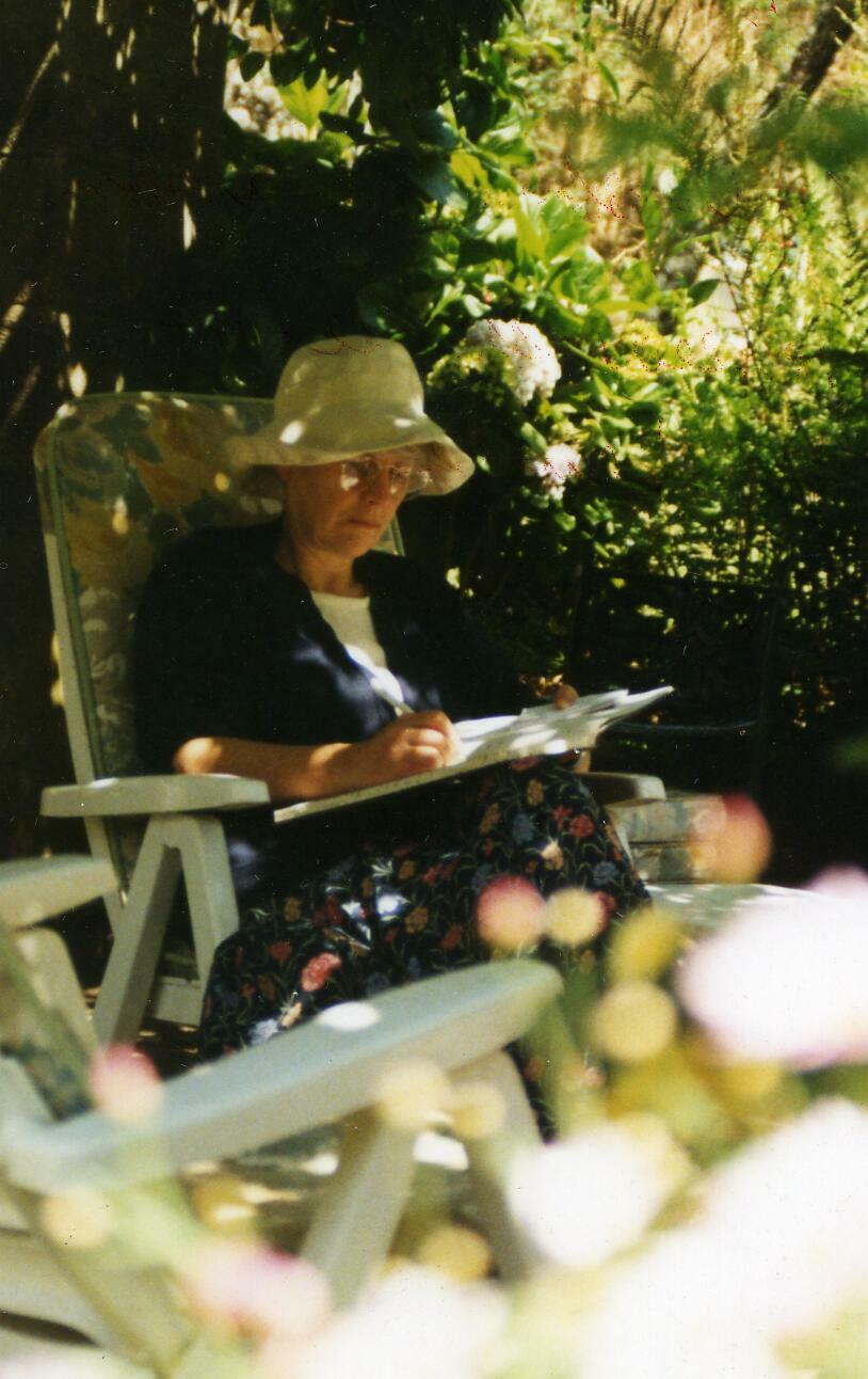 Writing in a garden in Addis Ababa