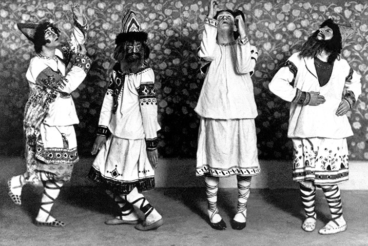 Dancers from the Ballet Russes in costume for the first ever production of The Rite of Spring in 1913. Choreography was by Vaslav Nijinsky, music by Igor Stravinsky.jpg