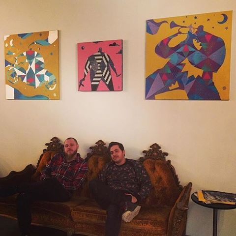 Check out the dazzling new pieces at @livestreampublic! Many thanks to @mdot_season & @chrissoria for lending us their collaborative paintings. 🎨💫😎 #mishat #mishatyutyunik #streaming #livestream #livestreampublic #newnew #studio #art #bushwickart #bushwick #nyc #bk #artistic #metallicpaint #geometric #geometricart #techart #techcompany #chrissoria #brooklynlife #brooklynart #winterart #TGIF #paintings #beauty