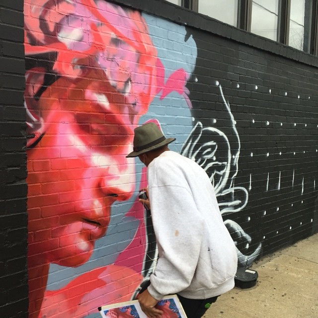 Wow! @ncarlosj working on a new #mural for #skillosophy 🎨 #bushwickopenstudios edition - be sure to come to 202 Morgan Ave on Saturday between 1-7pm to listen to @rinsednyc @richmedina @puremagicparty and see beautiful art! #art #bushwick #eastwilliamsburg #autumn #findac #kwesiabbensetts #marthalicia #ericinkala #october1 #visualart #popupgallery #livestream #ondisplay