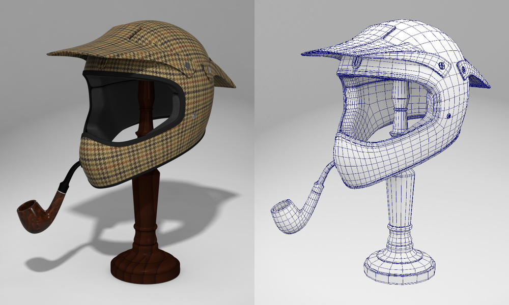 Sherlock Holmes' motorcycle helmet. Created houndstooth pattern in Illustrator. Everything else is Maya. A little more  here .