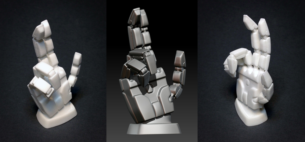Blessing mech hand for 3D print. Base mesh in Maya with some cleanup and rendering in ZBrush. More  here .