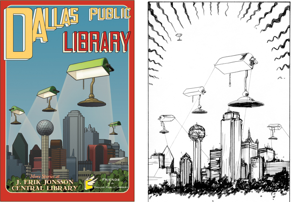 Used Maya and Illustrator to create large outdoor banner for Dallas Public Library in collaboration with artist, M.
