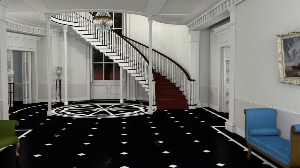 Interior with staircase in Maya with some texturing in ZBrush. Inspired by  Written on the Wind .