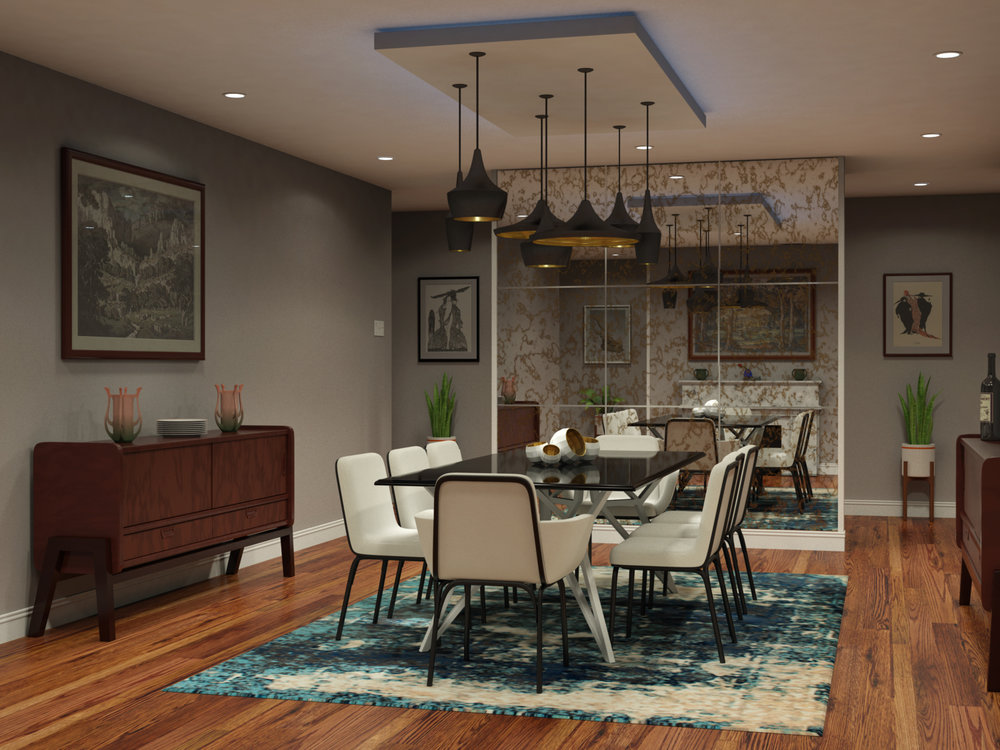 Mock-up of Dining Room Interior using Maya and mental ray