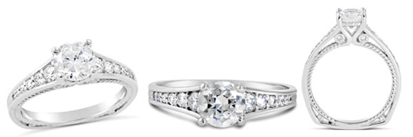 Classic and sophisticated our Graceful engagement ring is designed with diamonds and milgraining, along with a unique twisting rope design.
