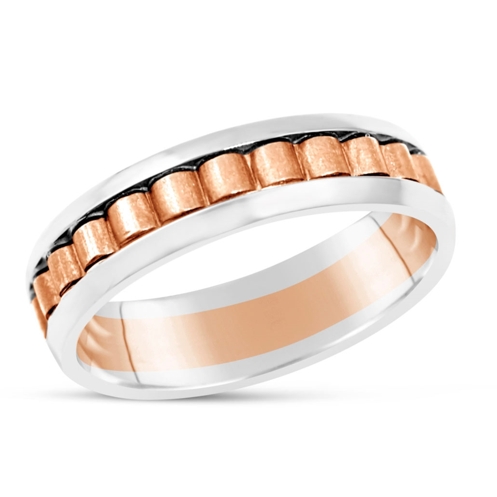 Men's White and Rose Gold Ridge Ring