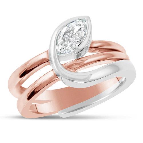 Two Tone Marquise Diamond Ring — Mark Michael Diamond Designs